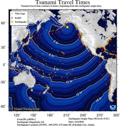 Alaska Tsunami Travel Times