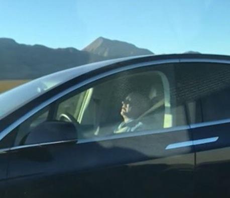 Tesla driver asleep