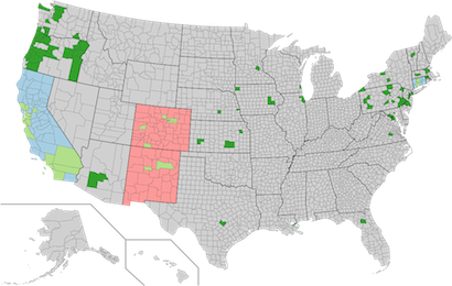 Map of sanctuary cities and counties