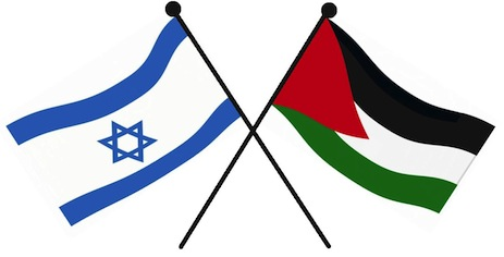 Israel and Palestinian flags