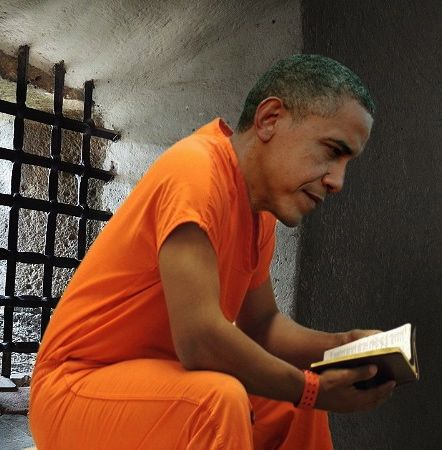 Barack Obama reading in prison