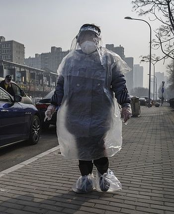 Chinese woman wears plastic wrap